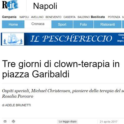 Articolo tre giorni di clownterapia in Piazza Garibaldi
