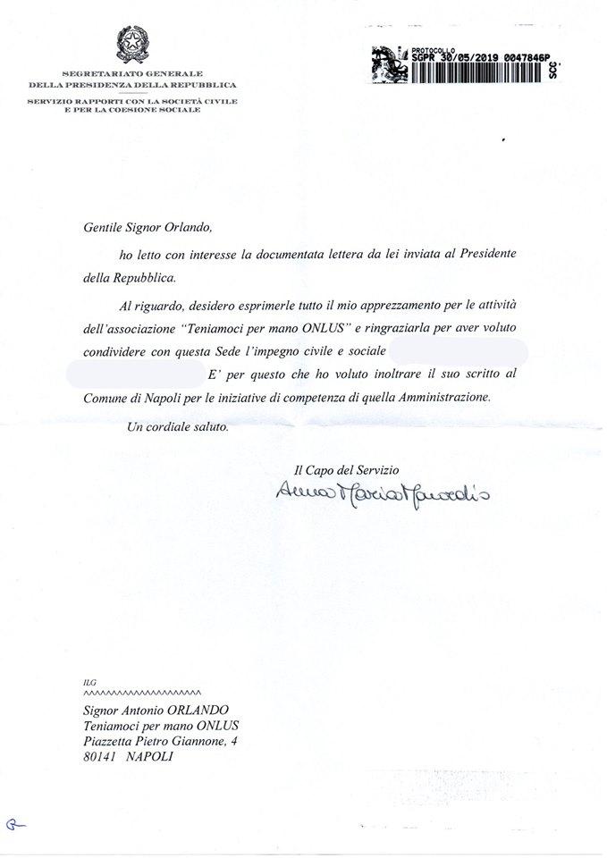 Risposta Presidente Mattarella alla Teniamoci Per Mano Onlus