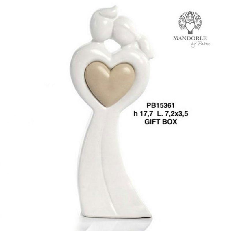 Bomboniera in porcellana Coppia Innamorati con cuore e scatola