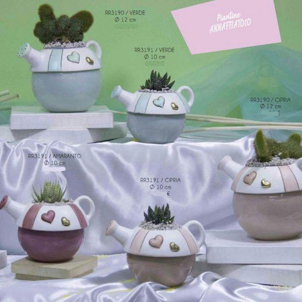 Annafiatoio in ceramica di Capodimonte con pianta grassa